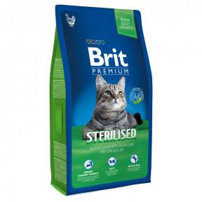 Сухой корм для стерилизованных кошек BRIT Premium Sterilized с курицей и с куриной печенью 8 кг