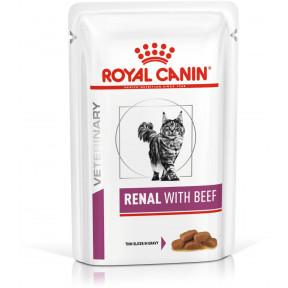 Влажный корм для кошек Royal Canin Renal with Beef Wet при проблемах с почками, с говядиной (кусочки в соусе) 85 г