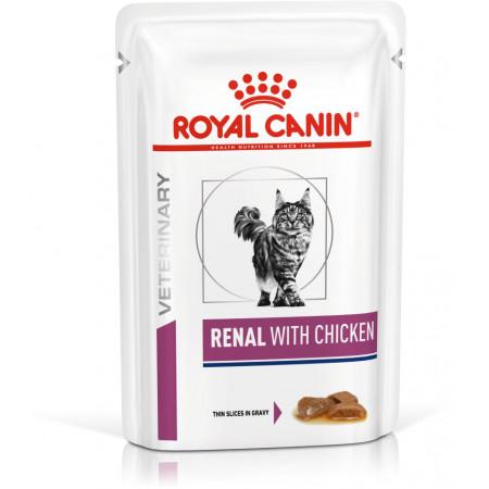 Влажный корм для кошек Royal Canin Renal, при проблемах с почками, с курицей (кусочки в соусе) 85 г