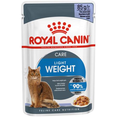 Влажный корм для кошек Royal Canin Ultra Light низкокалорийный, для профилактики избыточного веса (кусочки в желе) 85 г