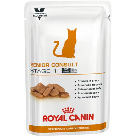 Влажный корм для пожилых кошек Royal Canin Senior Consult Stage 1 профилактика МКБ (кусочки в соусе) 100 г