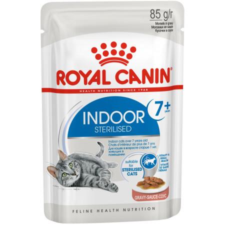Влажный корм для стерилизованных пожилых кошек Royal Canin Indoor Sterilized 7+ кусочки в соусе 85 г