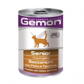 Влажный корм для пожилых кошек Gemon кусочки с курицей и индейкой 415 г