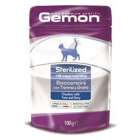 Влажный корм для стерилизованных кошек Gemon Sterilised беззерновой, кусочки в соусе с тунцом и с рыбой дори 100 г