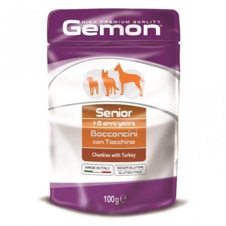Влажный корм для пожилых собак Gemon беззерновой, кусочки с индейкой 100 г