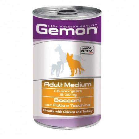 Влажный корм для собак Gemon Adult Medium кусочки c курицей и индейкой (для средних пород) 1.25 кг