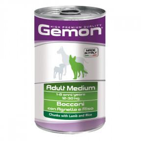 Влажный корм для собак Gemon Adult Medium кусочки c ягненком и рисом (для средних пород) 1.25 кг