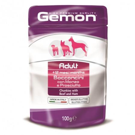 Влажный корм для собак Gemon беззерновой, кусочки с говядиной и ветчиной 100 г