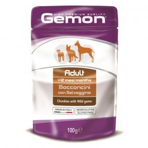Влажный корм для собак Gemon беззерновой, кусочки с дичью 100 г