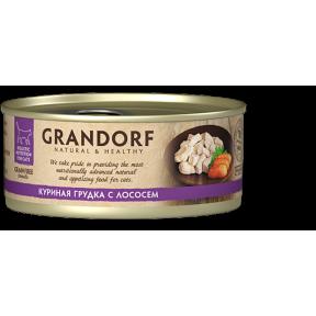 Влажный корм для кошек Grandorf беззерновой, Куриная грудка с лососем 70 г