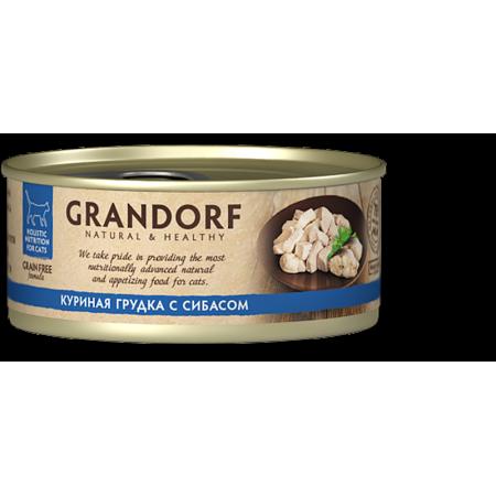 Влажный корм для кошек Grandorf беззерновой, Куриная грудка с сибасом 70 г
