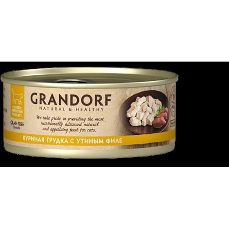 Влажный корм для кошек Grandorf беззерновой, Куриная грудка с утиным филе 70 г