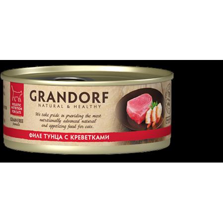 Влажный корм для кошек Grandorf беззерновой, Филе тунца с креветками 70 г