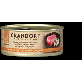 Влажный корм для кошек Grandorf беззерновой, Филе тунца с куриной грудкой 70 г