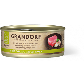 Влажный корм для кошек Grandorf беззерновой, Филе тунца с мясом краба 70 г
