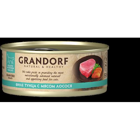 Влажный корм для кошек Grandorf беззерновой, Филе тунца с мясом лосося 70 г