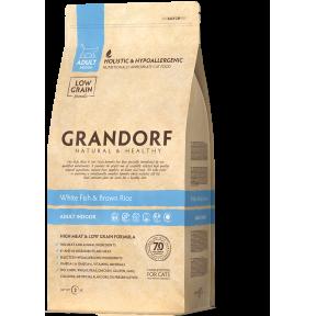 Сухой корм для кошек Grandorf Adult INDOOR низкозерновой, гипоаллергенный, Белая рыба с бурым рисом 400 г