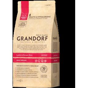 Сухой корм для кошек Grandorf Adult INDOOR низкозерновой, при аллергии, Ягненок с рисом 400 г