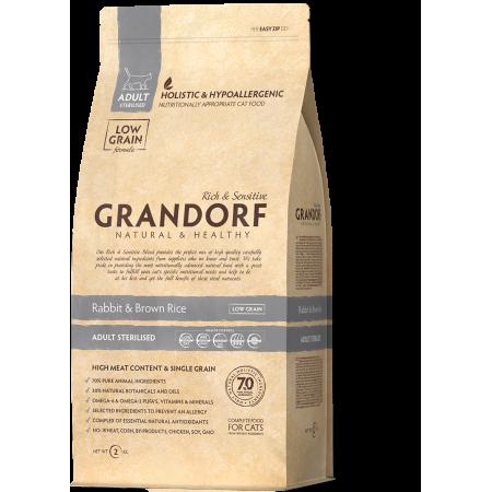Сухой корм для стерилизованных и пожилых кошек Grandorf Adult STERILIZED низкозерновой, Кролик с бурым рисом 2 кг