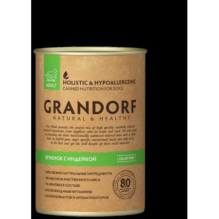 Влажный корм для собак Grandorf беззерновой, Ягненок и Индейка 400 г