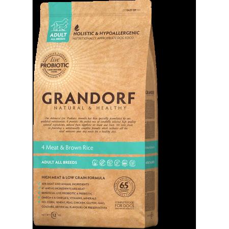 Сухой корм для собак Grandorf 4 Meat & Brown Rice Adult All Breeds низкозерновой, Четыре вида мяса и бурый рис 12 кг