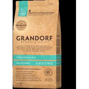 Сухой корм для собак Grandorf 4 Meat & Brown Rice Adult All Breeds низкозерновой, Четыре вида мяса и бурый рис 3 кг