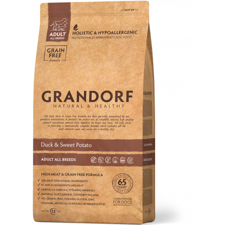 Сухой корм для собак Grandorf Adult All Breeds беззерновой, Утка с бататом 12 кг