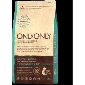 Сухой корм для собак One & Only Adult All Breeds низкозерновой, Индейка с бурым рисом 3 кг
