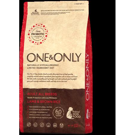 Сухой корм для собак One & Only Adult All Breeds низкозерновой, Ягненок с бурым рисом 12 кг