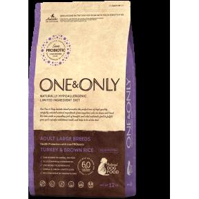 Сухой корм для собак One & Only Adult Large Breeds низкозерновой, Индейка с бурым рисом (для крупных пород) 3 кг