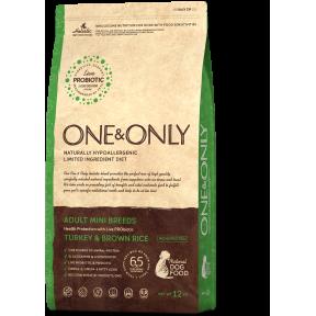 Сухой корм для собак One & Only Adult Mini Breeds низкозерновой, Индейка с бурым рисом (для мелких пород) 1 кг