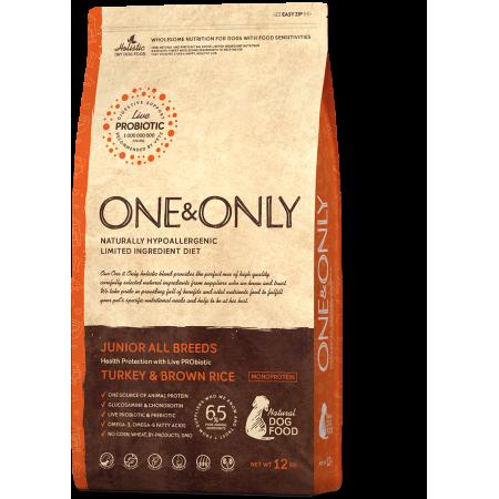 Сухой корм для собак One & Only Junior All Breeds низкозерновой, Индейка с бурым рисом (для юниоров с 4х месяцев) 12 кг
