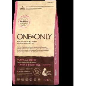 Сухой корм для щенков One & Only Puppy All Breeds низкозерновой, Индейка с бурым рисом 12 кг