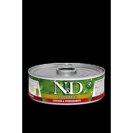 Влажный корм для котят Farmina N&D Prime беззерновой, с курицей, с гранатом (кусочки в соусе) 80 г