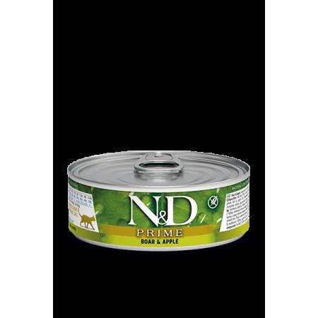 Влажный корм для кошек Farmina N&D Prime беззерновой, с кабаном, с яблоком (кусочки в соусе) 80 г
