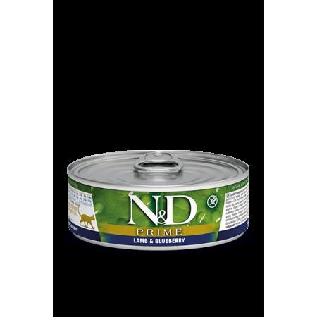 Влажный корм для кошек Farmina N&D Prime беззерновой, с ягненком, с черникой (кусочки в соусе) 80 г