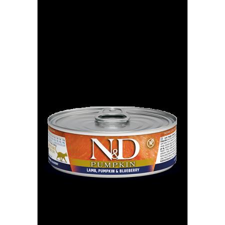 Влажный корм для кошек Farmina N&D Pumpkin беззерновой, с ягненком, с тыквой, с черникой (кусочки в соусе) 80 г