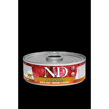 Влажный корм для кошек Farmina N&D Quinoa Skin & Coat беззерновой, для здоровья кожи и шерсти, с сельдью, с киноа и с кокосом 80 г