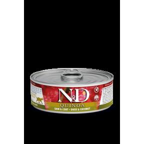 Влажный корм для кошек Farmina N&D Quinoa Skin & Coat беззерновой, для здоровья кожи и шерсти, с уткой, с киноа и с кокосом 80 г