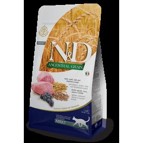 Сухой корм для кошек Farmina N&D Ancestral Grain низкозерновой, с ягненком, спельтой, с овсом и с черникой 10 кг