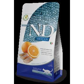 Сухой корм для кошек Farmina N&D Ocean беззерновой, с сельдью, с апельсином 1.5 кг