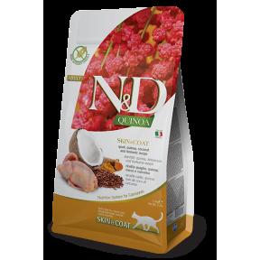 Сухой корм для кошек Farmina N&D Quinoa Skin & Coat беззерновой, для здоровья кожи и шерсти, с перепелом, с киноа, с кокосом и с куркумой 1.5 кг