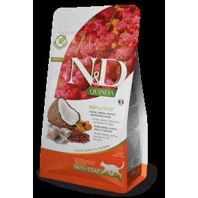 Сухой корм для кошек Farmina N&D Quinoa Skin & Coat беззерновой, для здоровья кожи и шерсти, с сельдью, с киноа, с кокосом и с куркумой 300 г