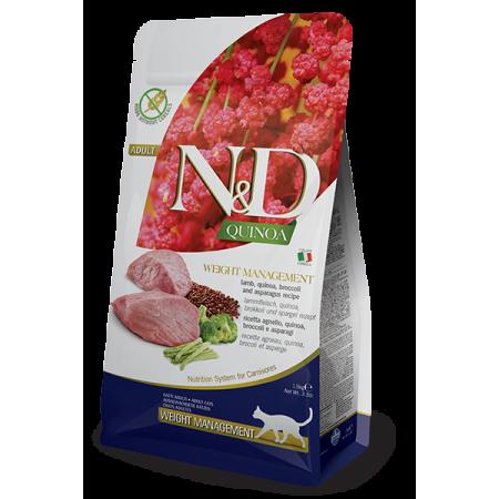 Сухой корм для кошек Farmina N&D Quinoa Weight Management беззерновой, для профилактики избыточного веса, с ягненком, с киноа, с брокколи и спаржей 300 г