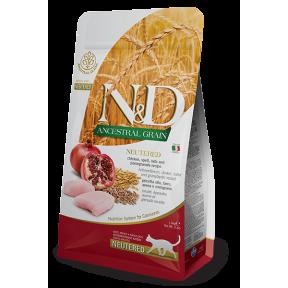 Сухой корм для стерилизованных кошек Farmina N&D Ancestral Grain низкозерновой, с курицей, спельтой, с овсом и с гранатом 300 г