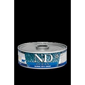 Bлажный корм для кошек Farmina N&D Ocean беззерновой, с лососем, с треской и с креветками 80 г