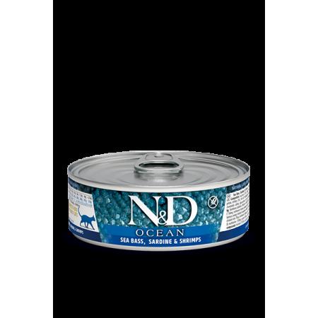 Bлажный корм для кошек Farmina N&D Ocean беззерновой, с сибасом, с сардинами и с креветками 80 г