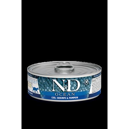 Bлажный корм для кошек Farmina N&D Ocean беззерновой, с треской, креветками и с тыквой 80 г