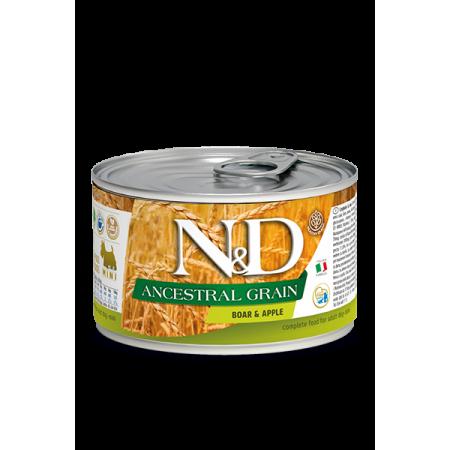 Влажный корм для собак Farmina N&D Ancestral Grain низкозерновой, кабан с яблоком (для мелких пород) 140 г