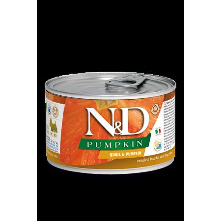 Влажный корм для собак Farmina N&D Pumpkin беззерновой, с перепелом, с тыквой (для мелких пород) 140 г